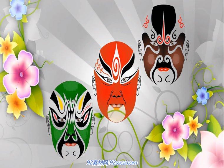 中国风戏曲脸谱变脸花纹led素材