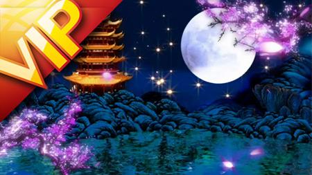 中国风黄鹤楼星光大月亮桃瓣纷飞舞台背景(含音乐)