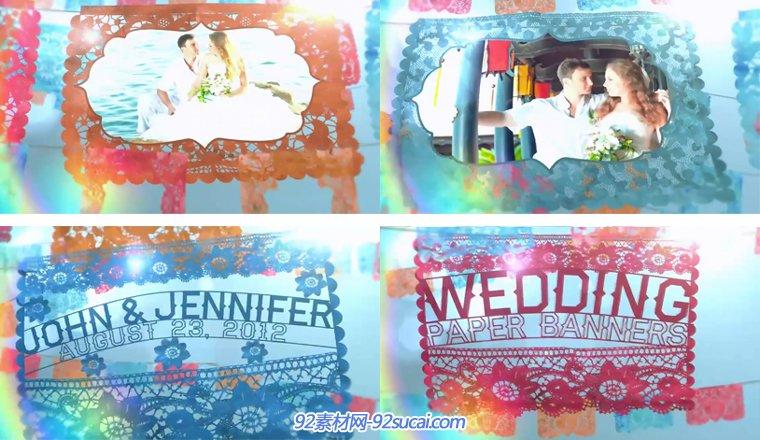 喜庆剪纸风格婚礼电子相册全套包装AE模板 Wedding Paper Banners
