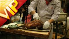 北京旅店传统美食烤鸭切割摆盘种种鲜味好菜高清实拍