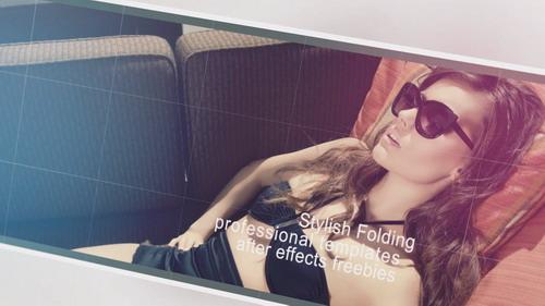 时尚的折叠照片展开大屏图文电子相册AE模板 Stylish Folding
