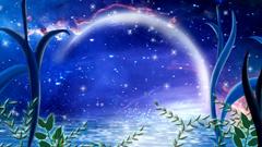 仙女湖星空恋语月牙弯月蓝色魅景舞台背景动态视频素材(含音乐)