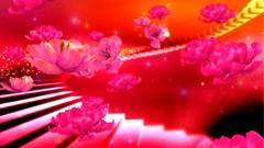大气视觉三维玫红色鲜花花朵粒子
