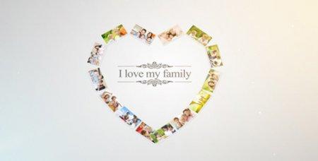 优雅温馨的家庭照片画廊电子相册AE模板 Photo Family Gallery