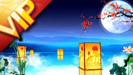 荷塘圓月梅花花瓣飄落燈籠月色荷花中秋晚會LED背景視頻(含音樂)