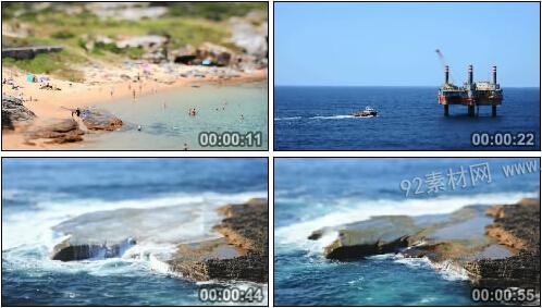 延时摄影海面直升机救援队轮船黄昏日落沙滩休闲活动高清实拍