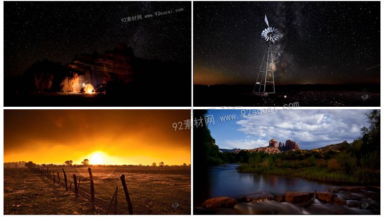 唯美延时摄影 地球上美丽的风景 夜空星星日出日落 高清实拍素材
