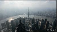 俯瞰上海都会景 西方明珠 商务大厦楼群车流疾速镜头高清实拍
