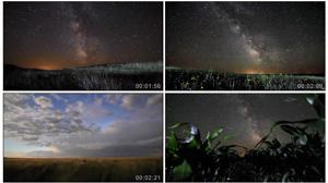 延时拍照-天然风景 夜晚壮观的景色 银河 星空 麦田 田野高清实拍