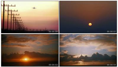 飞机起飞旭日初升 日出阳光清晨的朝霞 高清实拍特写