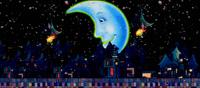 弯弯的月亮街 卡通房子路灯月亮舞台情景剧背景视频