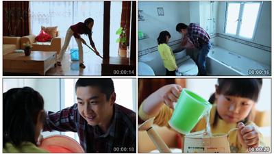 擴旱節約用水環保宣傳片 洗菜拖地澆花家居家居生活篇高清實拍