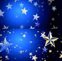 2段放大射光音符晚会歌曲背景婚礼 幽暗蓝色五角星动态视频素材