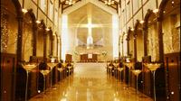 古典婚礼教堂动态视频 飘舞的白点雪花 婚庆视频素材
