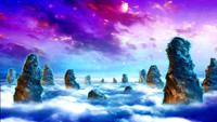 唯美梦幻的仙境风景 山顶的云海舞台背景动态视频