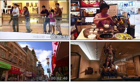 唐人街商场 西藏喇嘛沙画艺术 市场街道繁荣的景象 中国风特色类
