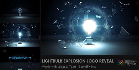灯胆爆炸光芒散射标记ae模板 Light Bulb Explosion Logo Reveal