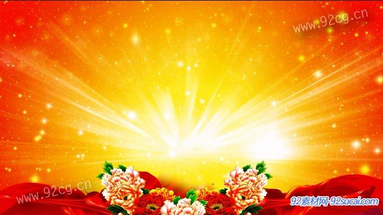丝绸牡丹红歌大放异彩舞台晚会 中国风民族风 高清配景视频