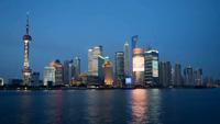 上海城市风光风景高清实拍东方明珠-白天到夜暮(快速镜头)