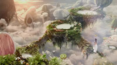 实拍+后期制作的复古童话般的美丽仙境花园风景 牛奶浴广告创意