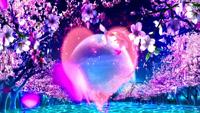 浪漫桃花圆月花瓣飘落 大红透明爱心闪动 湖水波澜婚礼背景视频