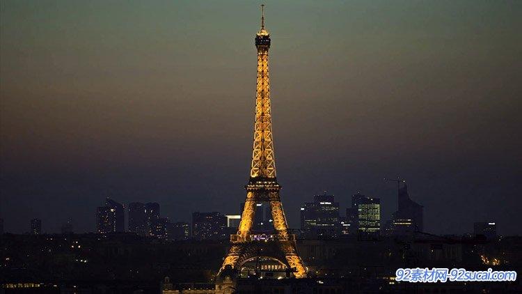 延时摄影-法国美丽的城市夜景快速车流城市地铁人流铁塔自然风光