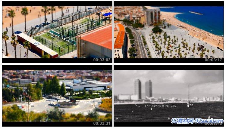 微速延时摄影 巴塞罗那的夏天城市宣传城市面貌风光风景高清实拍