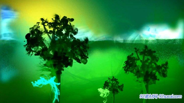 北京印象唯美水墨色彩变幻喜庆中国风LED舞台背景VJ师视频素材