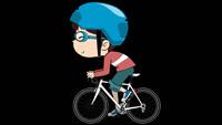 小男孩踩单车 骑自行车动画演示 前景带通道视频素材