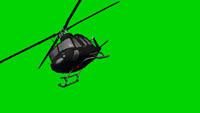 直升飞机飞过 绿色背景带通道可抠背景 动态前景视频素材(有音效