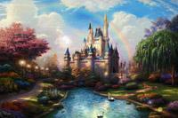 唯美梦幻卡通城堡国度小河流水天鹅戏水若陷若?#20540;?#24425;虹动态视频素