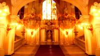 金碧辉煌的教堂 双爱心汇聚婚礼婚庆LED动态背景视频素材