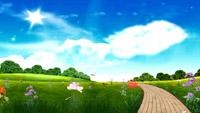 唯美清新的大自然青草鲜花大树蝴蝶飞舞蓝天白云舞台背景视频素材