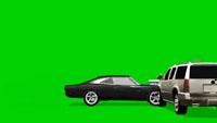 两辆汽车相撞发生车祸的情景 带绿色通道可抠背景视频素材