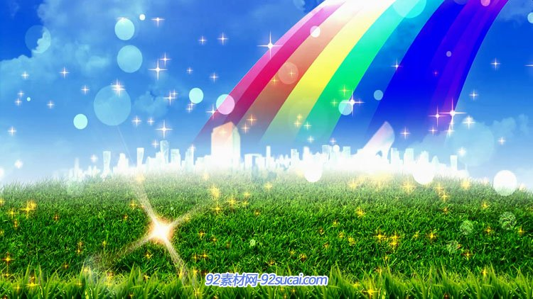 青草地七彩虹泡泡星光闪现城市清爽舞台背景视频素材