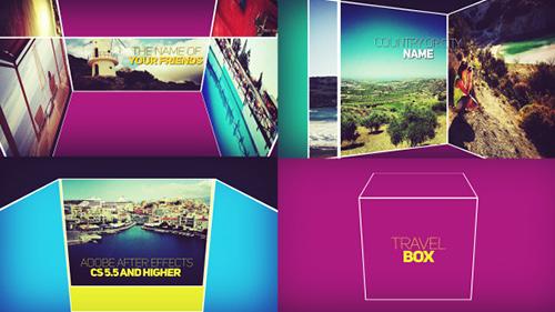 旅游盒子特效公司宣传片AE模板 Movie Opener Travel Box