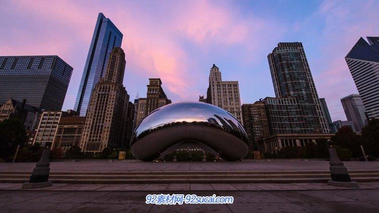 高速延时摄影芝加哥城市航拍 城市商务高楼大厦交通夜晚车流