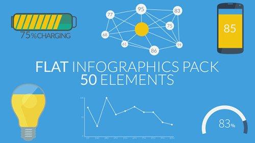 50个扁平化静态元素信息展现 Flat Infographics Pack (50 Elemen