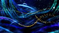 雨蝶 幽深蓝色变幻发光粒子生长运动 紫红粒子花瓣舞台背景视频
