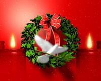 红色喜庆背景白鸽花圈红蜡烛 圣诞节日视频素材 标清