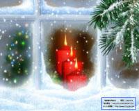 圣诞节素材 小屋红蜡烛窗外松树叶鹅毛大雪标清视频背景 免费下载