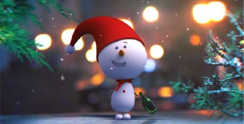 可爱的卡通圣诞雪人片头信息介绍AE模板 Snowman Intro
