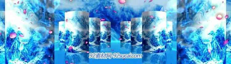 素材 舞台背景 > 中国民族水墨风格通用动态视频 青花瓷折扇龙纹 led