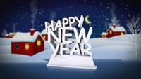 圣诞新年节日素材 冬天雪地小屋雪花突如其来会聚 happy new year