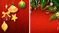 2组圣诞系列 圣诞节日素材大红色喜庆背景装饰吊饰动画视频素材