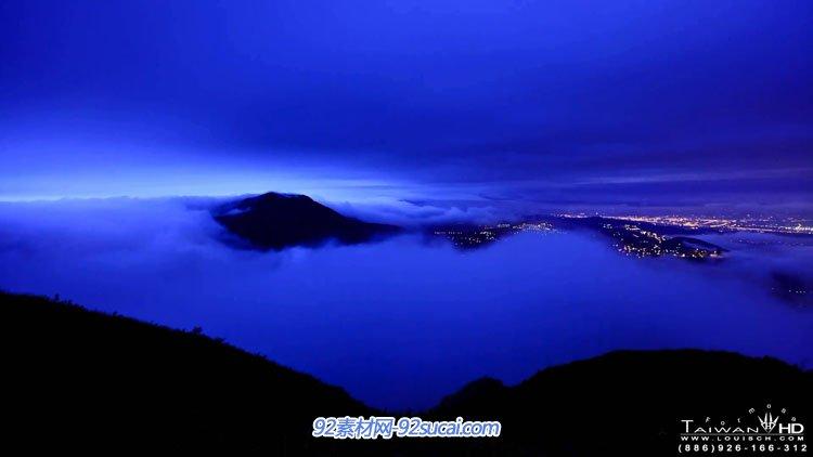 延时摄影缩时台湾-大屯山风云美丽的大自然风光山顶云海日出夜景