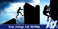 蓝天白云背景下的剪影-攀岩者极限运动悬崖登山探险 rock climber