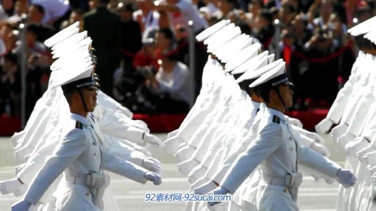 60年中国国庆阅兵仪式红旗飘扬军人军姿彩车游行高清实拍延时摄影