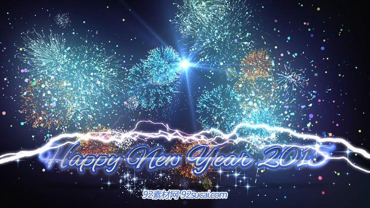 2015新年快乐 粒子圣诞烟花绽放动态视频 happy new year 2015