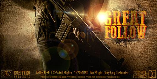 震撼军事举措体育和平战役类影戏预报片引见AE模板 great follow